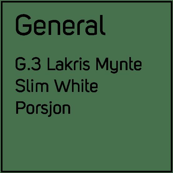 General G.3 Lakris Mynte Slim White Porsjonssnus